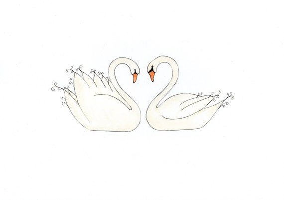 Swans In Love, Valentine's Card, print from original watercolour