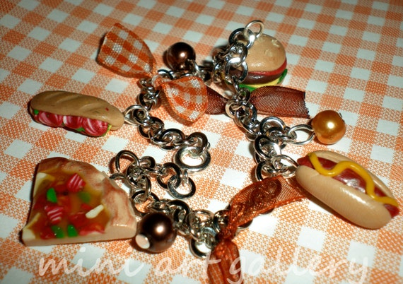Fast food / junk food charm bracelet polymer clay / chain / hamburger / pizza / sandwich / hot dog - Mini Art Gallery