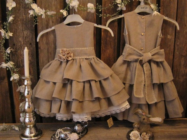 Beige Wedding Dresses: Rustic Flower Girl Dress. Dark Beige Country By
