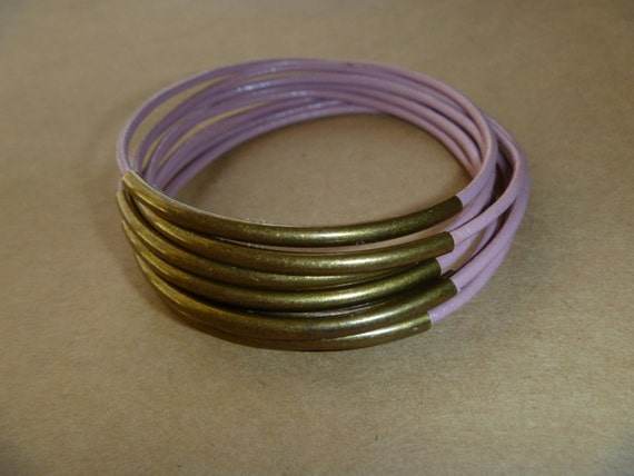 Dusty Rose Leather Antique Brass Tube Bangle Bracelet Set of 8