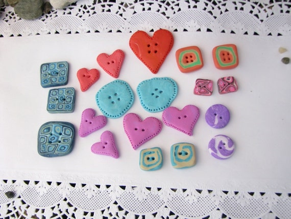 handmade buttons - coral, mint, blue, lavander, pink... - set of 20
