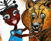 Original African Style Painting on Wood