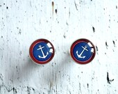 Anchor studs earrings white blue red -  Nautical jewelry - cute ear studs post - glass dome anchor earrings - anchor jewelry - ShoShanaArt