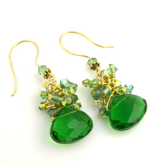 Green Crystal Dangle Earrings, Cluster Earrings, Beaded Earrings, Beaded Jewelry, Women's Jewelry, Gifts for Her