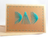 Hand Embroidered Card Dad Teal Rays of Light Stitched Card Fatherhood Birthday - sleepingfoxstitchery