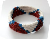 Red, White and Blue Fabric Wrap Coil Bracelet w/ Cotton Rope and Dyed Hemp Cord