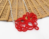Tatting heart necklace - All my love - OOAK tatting lace pendant in red color, Valentine's Day gift - MadeByRevi
