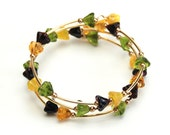 Black Eyed Susan Memory Wire Bracelet - Yellow Black Dark Brown Green Glass Flower Bracelet - Handmade Preakness Jewelry