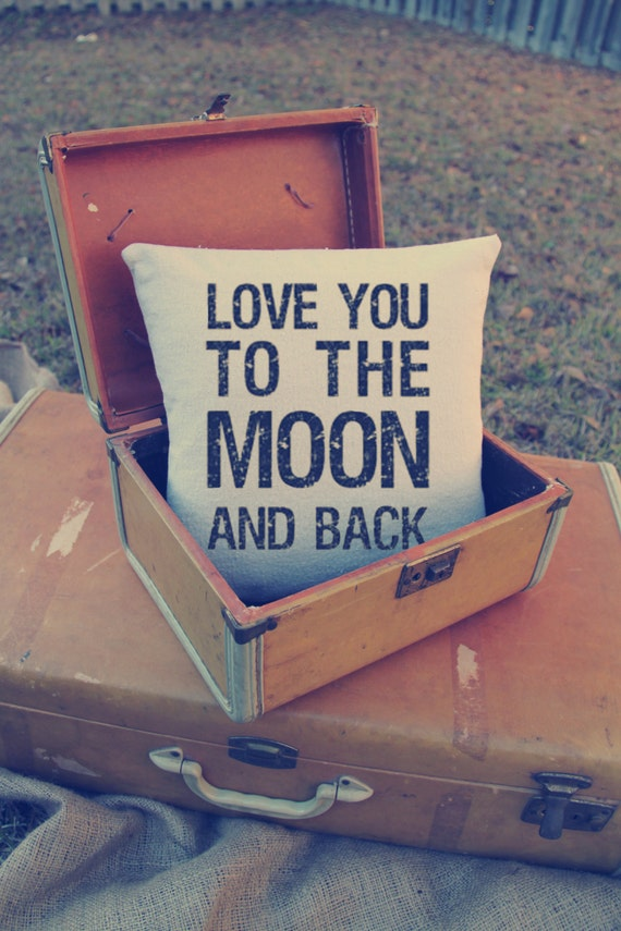 Wedding: Custom Pillow - Love you to the moon and back - moon