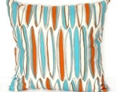 Grad Sale - 13% Off - Pillow Cover -  DECORATIVE PILLOW Cover - THROW Pillow - 16 x 16 - Mandarin Orange Blue Turquoise Surfboard - ThePillowFight