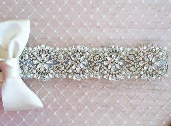 Please help me pick a sash! :  wedding Il 570xN.434496891 Mmyl SALE Swarovski Pearl Rhinestone Wedding Dress Sash
