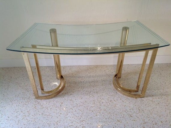 Vintage Hollywood Regency Brass Glass Desk Console Table Mid Century Modern