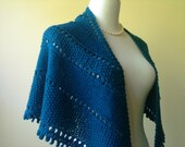 Handknit Lace Texture Shawl in Azure Blue Wool - Romantic - Classic - Ready-to-Ship
