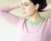 Lace collar necklace mint green - linen / viscose neckpiece - women collar hand knit - alexmalexdesigns