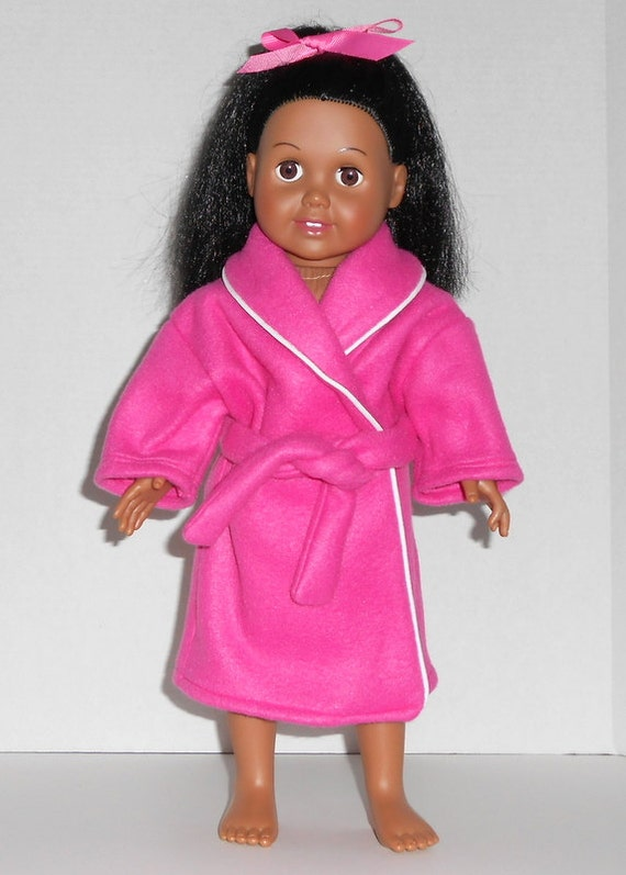 American Girl Doll Clothes Robe Hot Pink Fleece White Trim