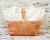 Terracotta canvas tote bag / Summer beach bag / Orange tote bag / Beige canvas tote bag / School bag / Canvas bag - HOYAH