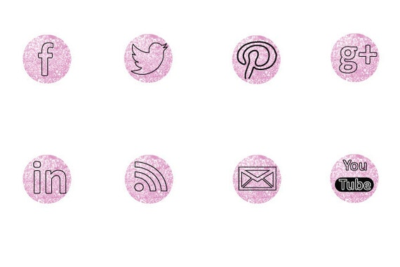 3 Day Only Sale 1/2 OFF Social Media Icons- Pink Glitter Backgrounds