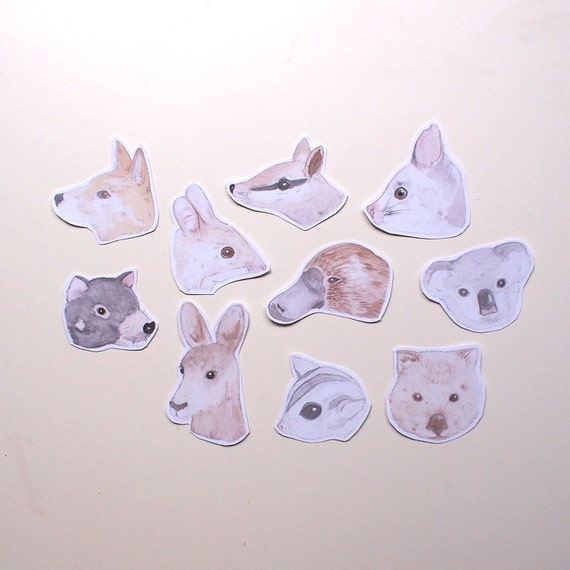 Set of 10 Australian Animal Stickers