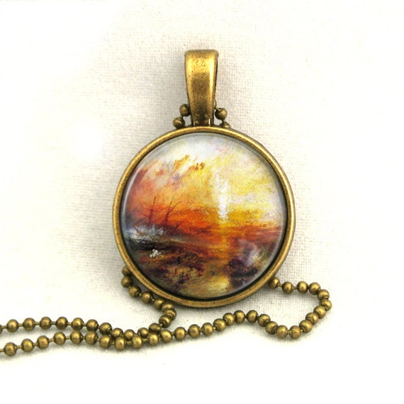10% SALE Necklace The Exile and the Snail Turner Jewelry Landscape Oil Panting
