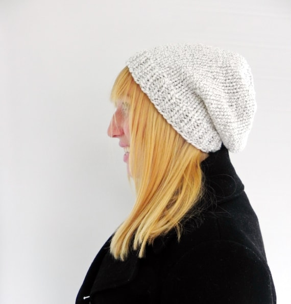 White Slouch Hat - Unisex Slouchy Beanie