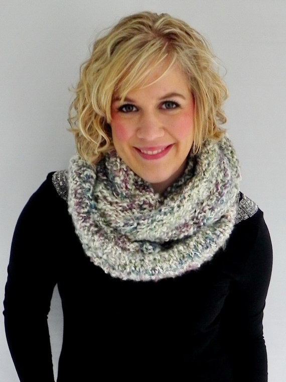 Fuzzy Knit Infinity Scarf - Multicolor Circle Scarf