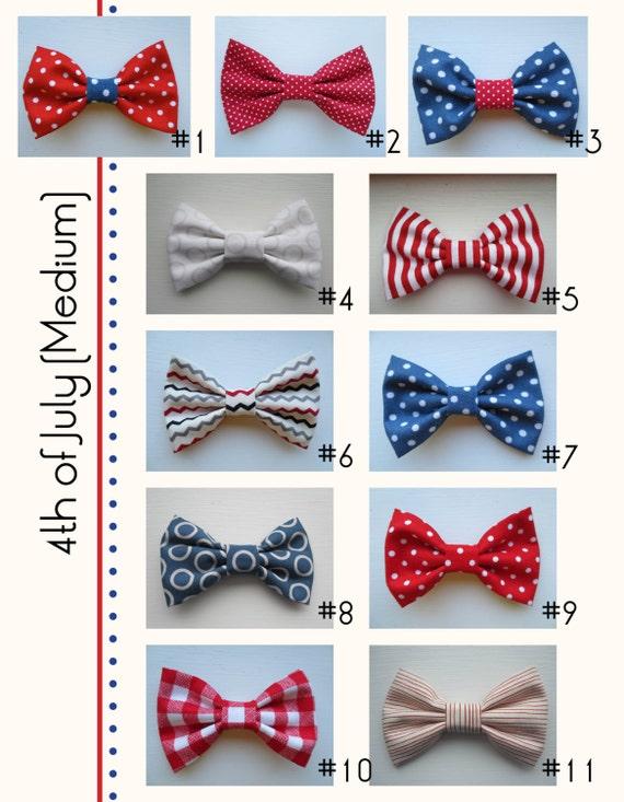 Patriotic Fourth of July Assorted Handmade Hair Bow Variety - Medium (one)