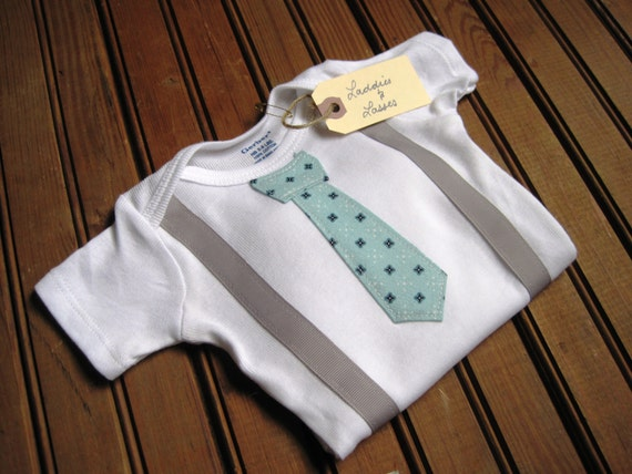 Short Sleeve Robin's Egg Blue Necktie Onesie with Suspenders, Suspender Onesie, Tie Onesie, Baby Suspenders, Necktie Onesie, Baby Boy Tie