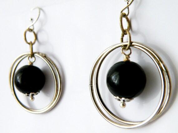 Black Onyx Round Pearl Hook Earrings Birthstone Jewelry December Women Minimalist Fashion by SteamyLab