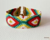 Summer Cocktail Bracelet - Handmade woven friendship bracelet. Coral, turquoise, green, white, yellow. Golden clasp. Free shipping