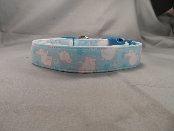 Easter Bunnies on Blue Dog Collar