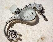 PURE WHITE seahorse wire wrapped sea glass pendant. - PalmerasDesign