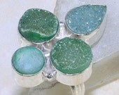 Summer Sale New Green, Sea and Blue,Turquoise Druzy Gemstone Silver Ring, 4 Stones, Size 6.5, Agua - FabLilly