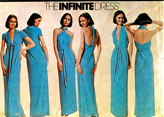 1970s Infinite Convertible Halter Dress- McCalls 5360 Vintage Sewing Pattern - Hip Size 32 - 38 - Sleek & Sexy Evening, Bridal, Formal Prom