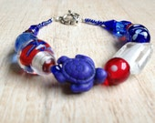 Blue Turtle with Red, White and Blue Glass Beads Bracelet, Beach Jewelry, - BeachDaisyJewelry