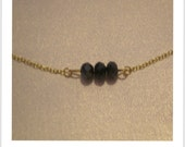 Gold chain navy gemstone bracelet, gold plated, friends gift
