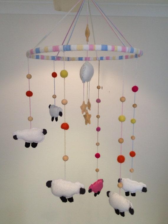 Felted sheep mobiles, Etsy: littletigersmama