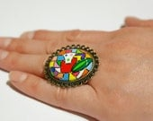"Ring ""Abstraction"". Hand Painted."