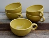 Vintage Mid Century Modern Russell Wright Iroquois Chartreuse Pistachio Green Casual China Cup Mint Condition Set of 7