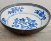 Vintage Mid Century Pewter Wrapped Hand Painted Blue and White Small Porcelain Bowl Made in Hong Kong