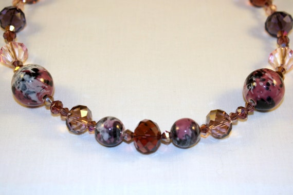 Mixed Berry Sparkle necklace with pink, rose, mauve and purple beads
