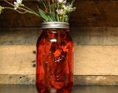Red. Ball Mason Jars - Vase - Pen/Utensil Holders - Quart - ChloeUnderwoodDesign
