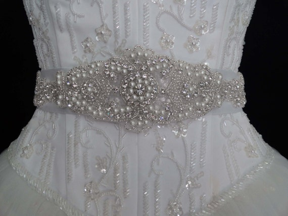 Ivory White Wedding Bridal Sash Belt Bridesmaids Heirloom Crystal Rhinestone Pearl Beaded Applique Custom Colors