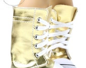 "Knee High Lace-Up Sneakers Boots Doll Shoes Leather Gold with White Dots for 18"" American Girl dolls"
