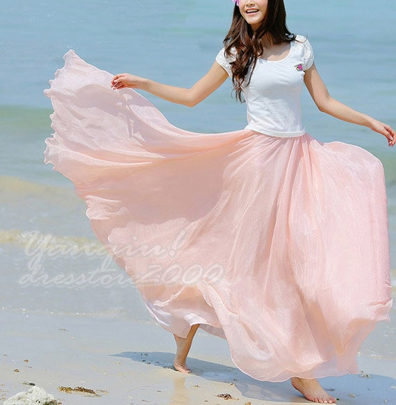Women's Beach Maxi Skirt Princess Pink Chiffon by dresstore2000 from etsy.com