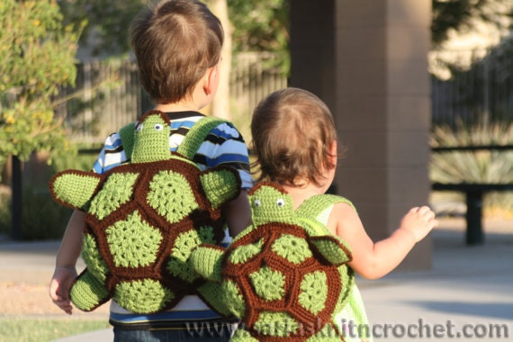 Turtle Backpack for Kids Ninja Turtle Crochet Green - 2 Pieces of Green Turtle Backpack for Boy and Girls