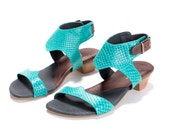 Xisca Turquoise Leather Sandals for Women - MichalMiller