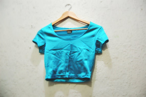 90s Vintage Frederick's of Hollywood Blue Metallic Crop Top