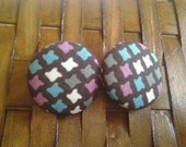 Fabric Covered Button Earrings-Dolly