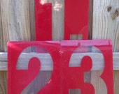 Vintage Red Gas Station Numbers