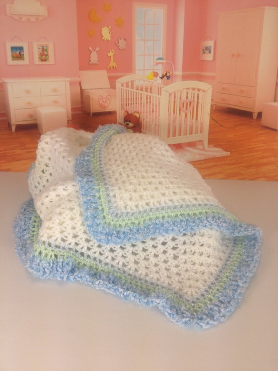 "34"" x 34"" Crocheted Baby Blanket - Blue - Super Soft Acrylic"